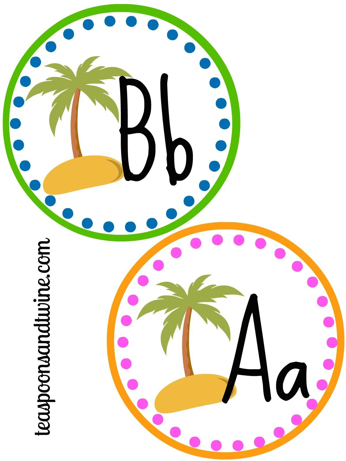 Teaspoons Amp Twine Free Printable Letter Circles Perfect For My Beach Themed Classroom