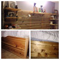 Headboard with shelving. Bed frame made of cedar boards