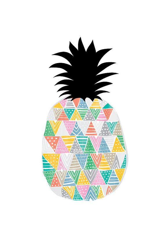 Ananas Art Print  Fruit Illustration Art de la cuisine dcor Pastel couleur Geomertric