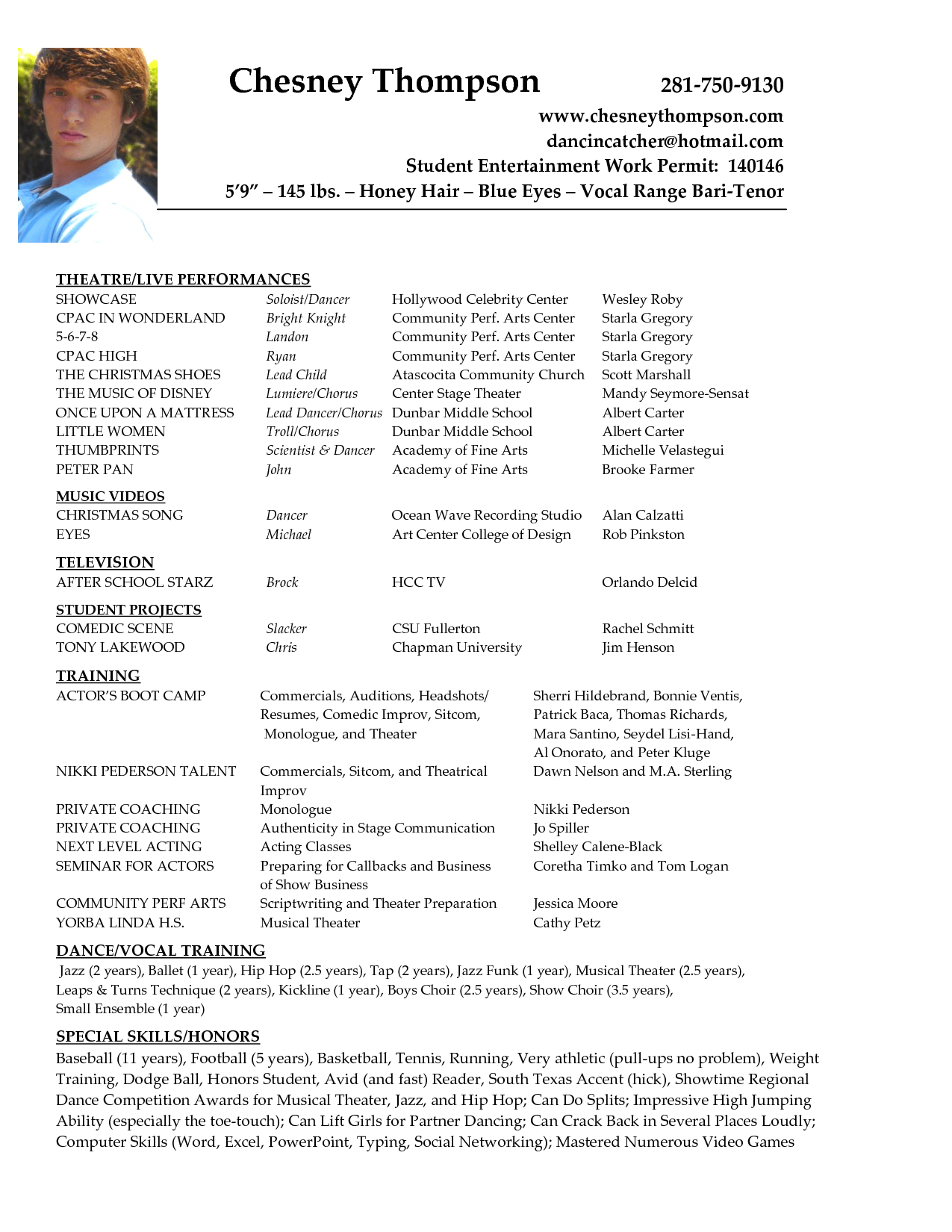 Child Resume Child Actor Resume Sample Villa Chems