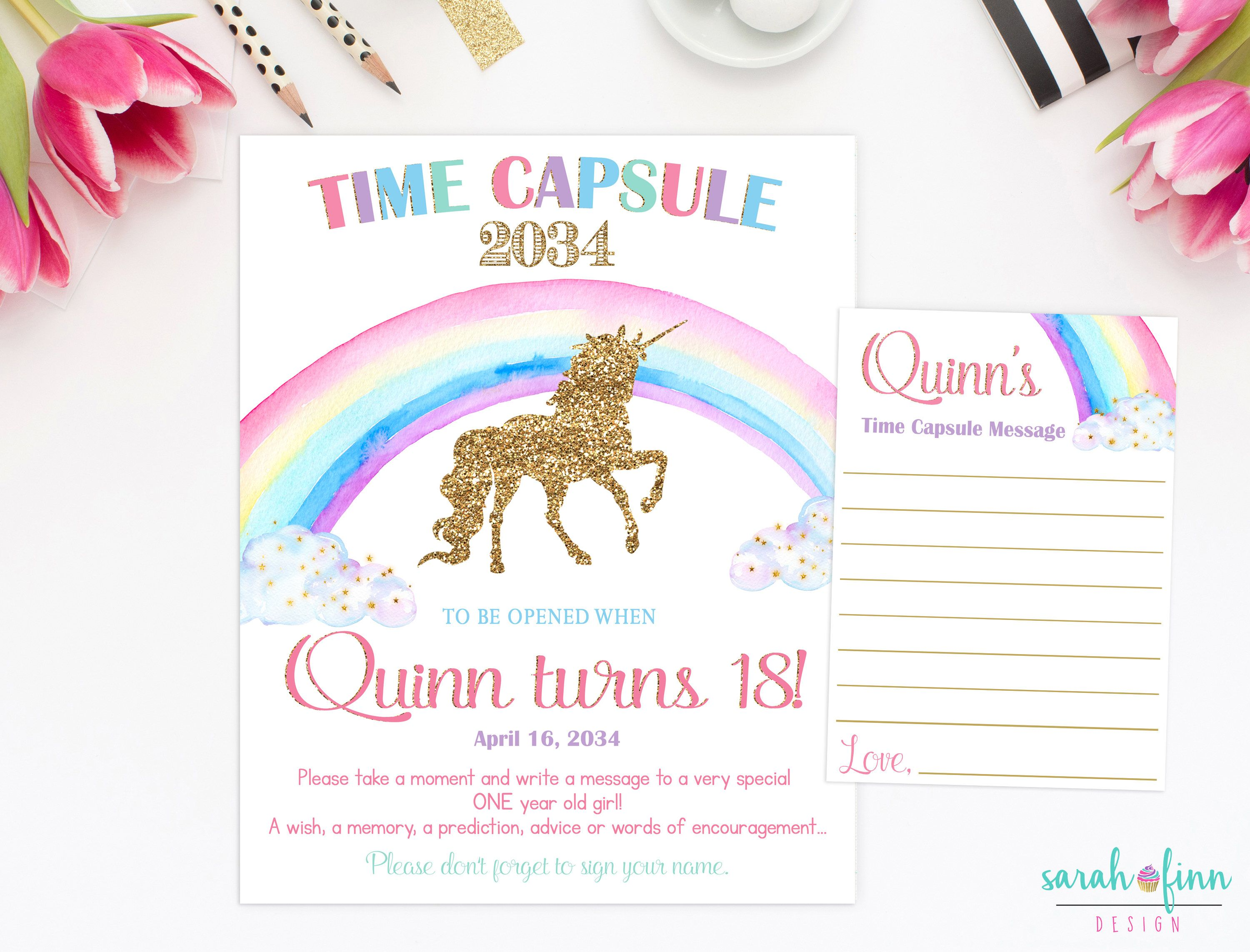 Unicorn Rainbow Time Capsule First Birthday Pink Gold Unicorn Capsule Sign Printable Baby
