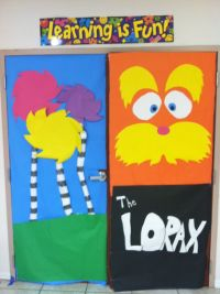 The Lorax and truffula trees classroom door decorations
