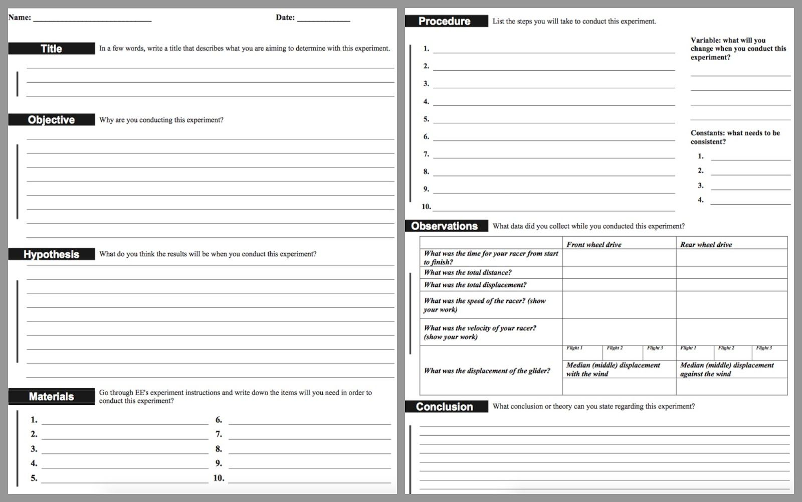 Lab Report Template Middle School