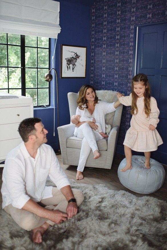 baby rocking chair walmart ergonomic miller tour tiffani thiessen's elegant blue nursery | thiessen and