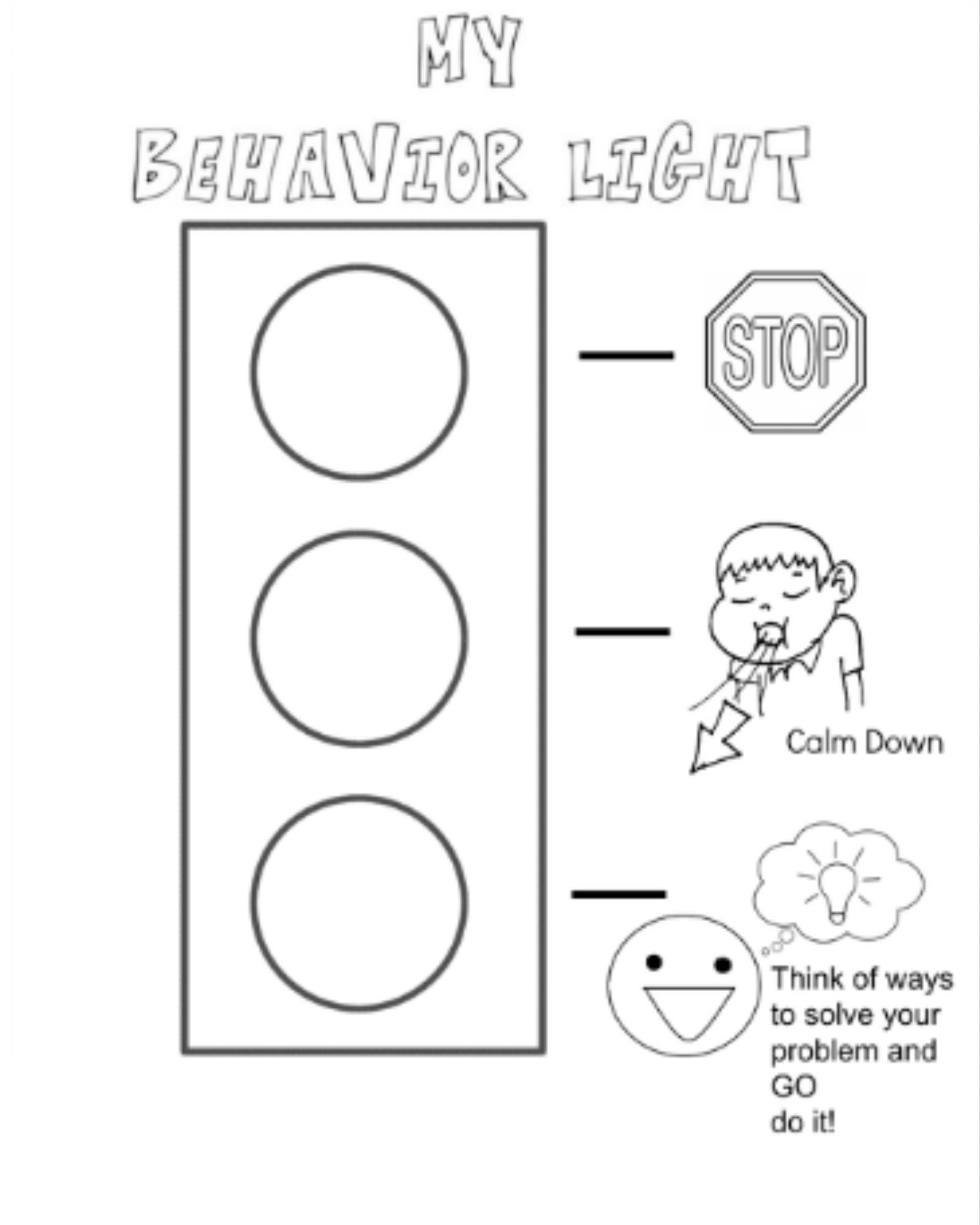 Behavior Stop Light Coloring Page I Created For My Kiddos When You Are Angry Use Your Stop