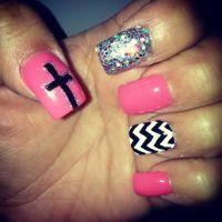 Pink black white glitter cross chevron nail design | Gel ...
