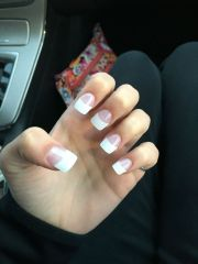 rounded square french tip acrylic