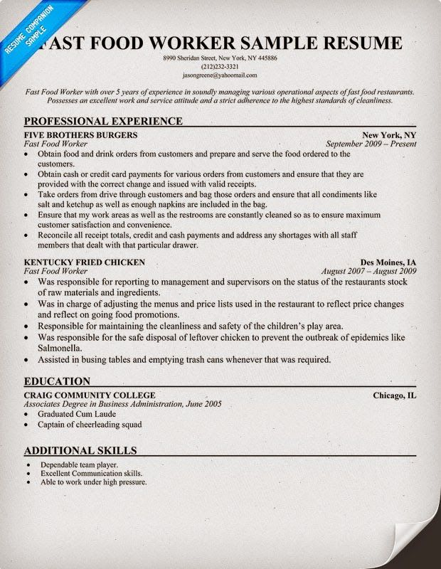Resume Examples For Fast Food - Examples of Resumes