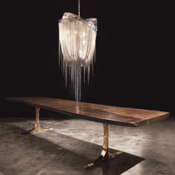 Knight Base Dining Table By Hudson Furniture Live Edge Walnut And Bronze