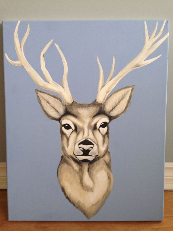 Deer Acrylic Painting On Canvas