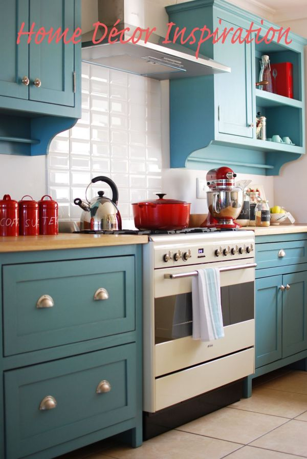 Red And Turquoise Kitchen Year Of Clean Water
