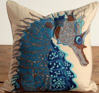 Embroidered Seahorse Pillow - Blue: Beach Decor, Coastal ...