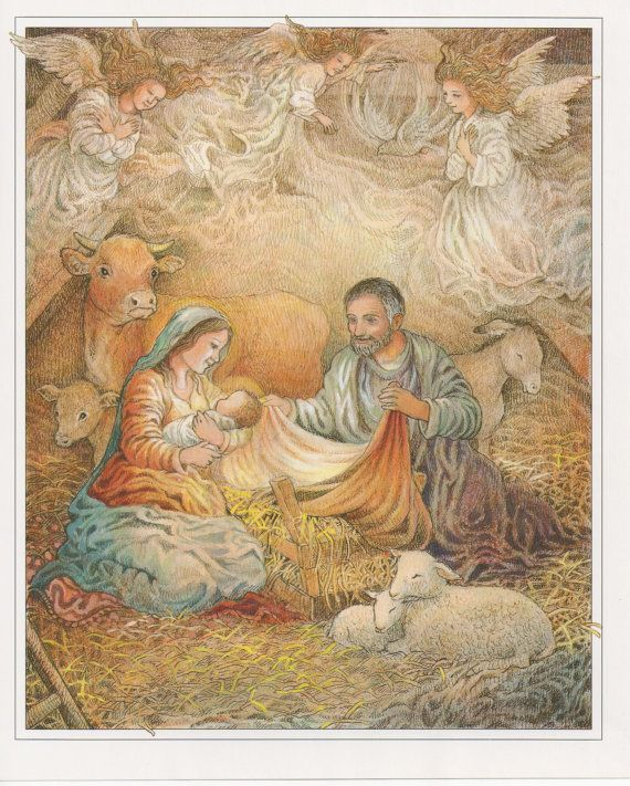 Nativity Print Birth Of Jesus Joseph Mary Baby Jesus