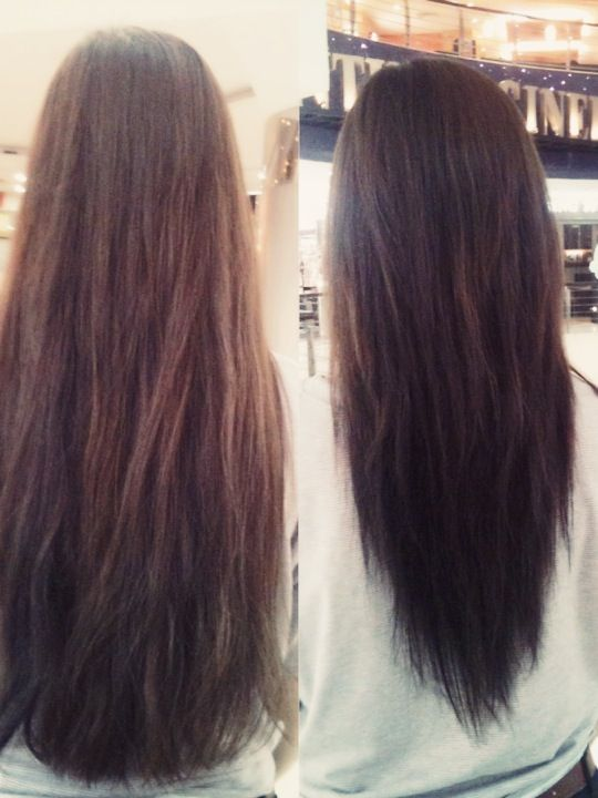 Long V Shape Cut Before And After Hair Stylez Pinterest V