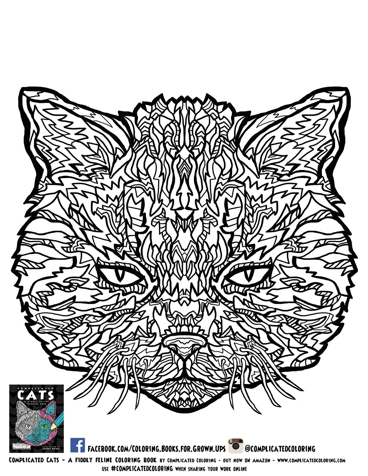 Free Printable Adult Coloring Pages From Plicated Cats Wire