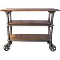 Vintage Industrial Wood & Metal Roll Around Cart / Island ...