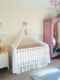 Girls pink nursery cot canopy white bed princess crown ...