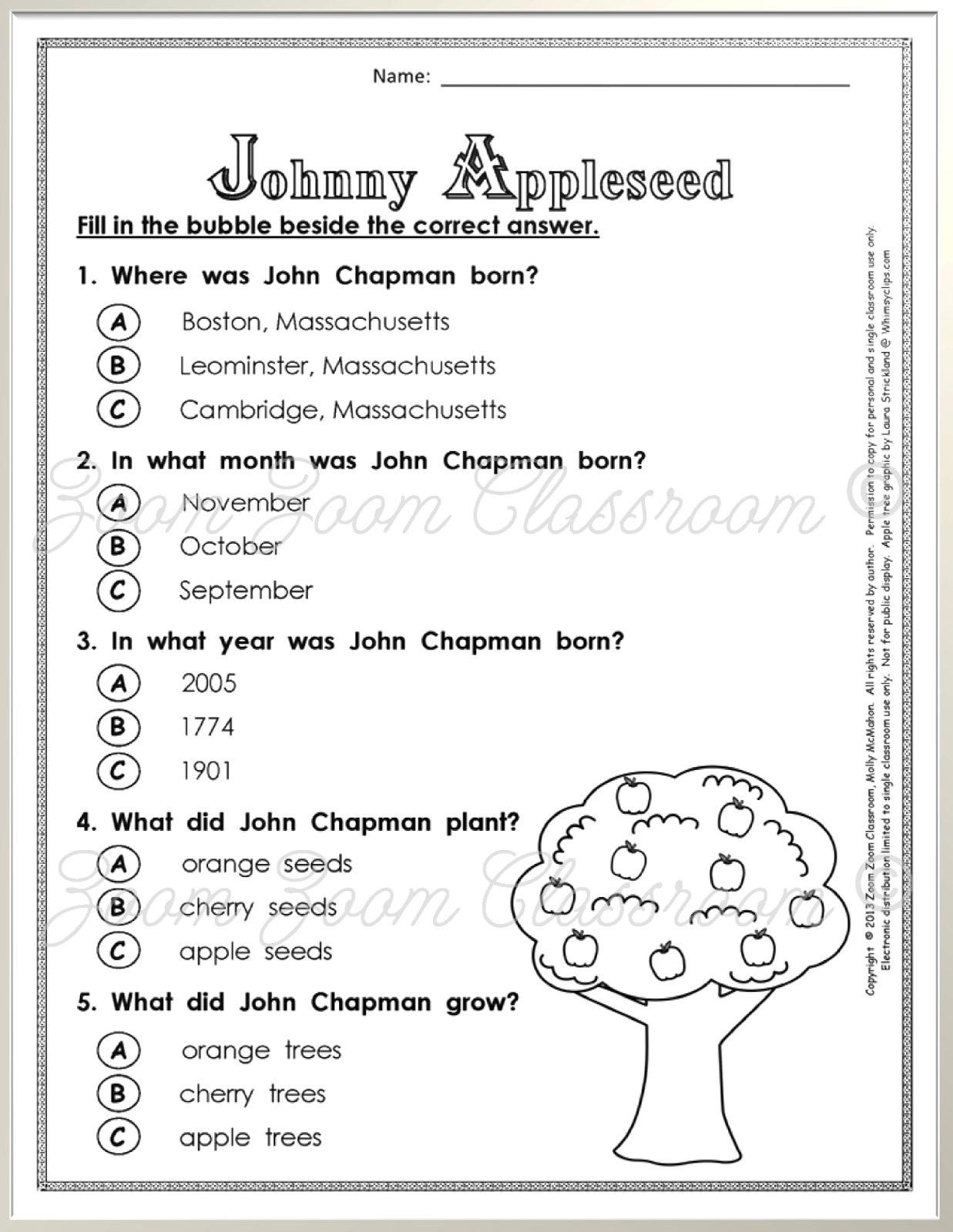 Celebrate Johnny Appleseed S Birthday With A Book And A Free Quiz For Your Students Johnny