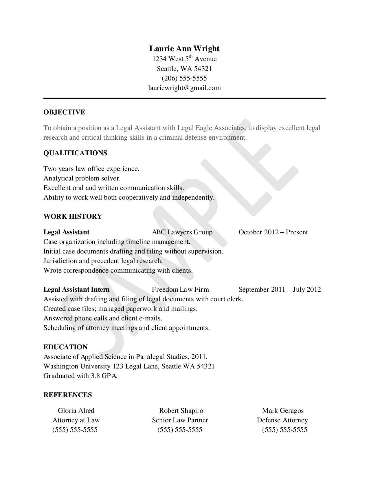 Sample Resume For Legal Assistants Legal Assistant Tips