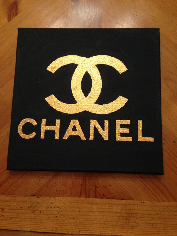 Black and Gold Glitter Chanel Canvas by RebeccaHDesigns on Etsy 3500  Home decor  Pinterest