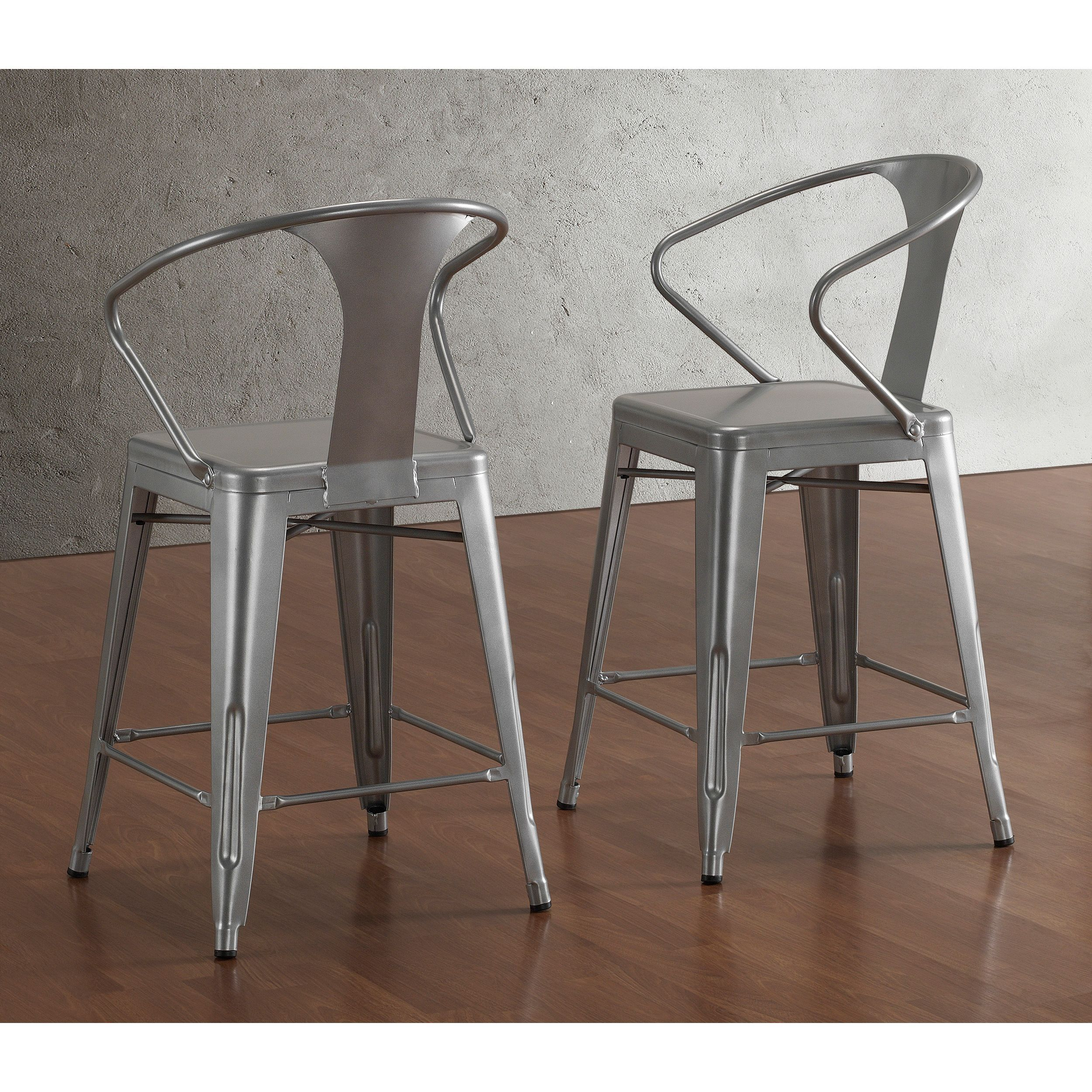 sturdy kitchen chairs island with stove tabouret silver back 24 inch counter stools set of 2