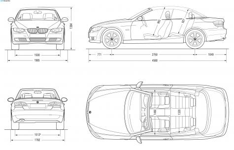 2007 BMW 3-Series E93 Convertible Cabriolet blueprint