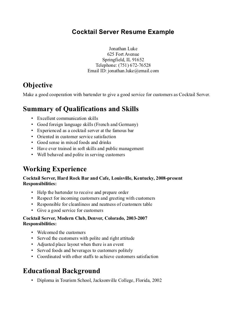 Cocktail Waitress Resume Sample Resumesdesign Com