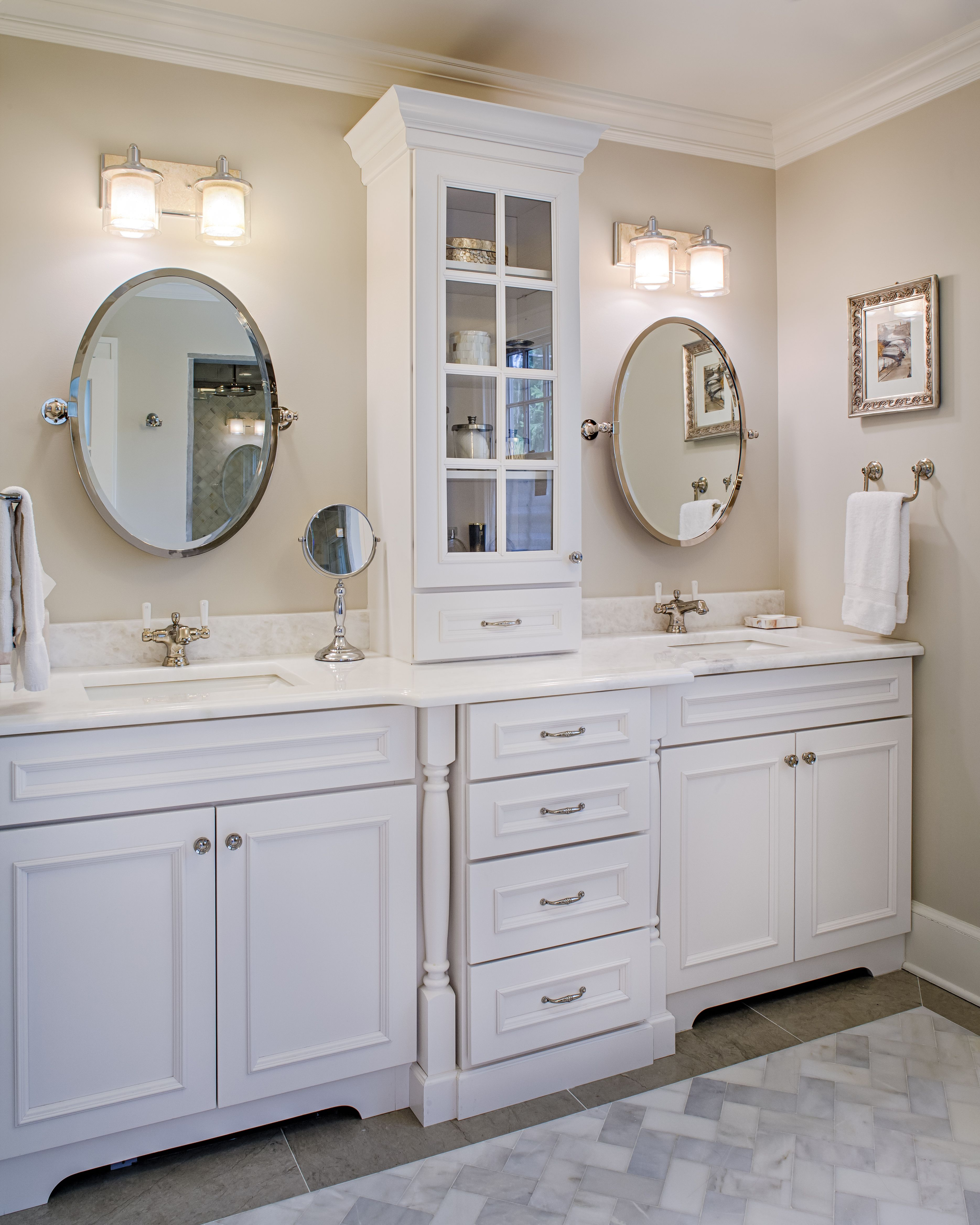 White Bathroom Vanity Ideas Master Bathroom Renovation With Tower And Double Vanity