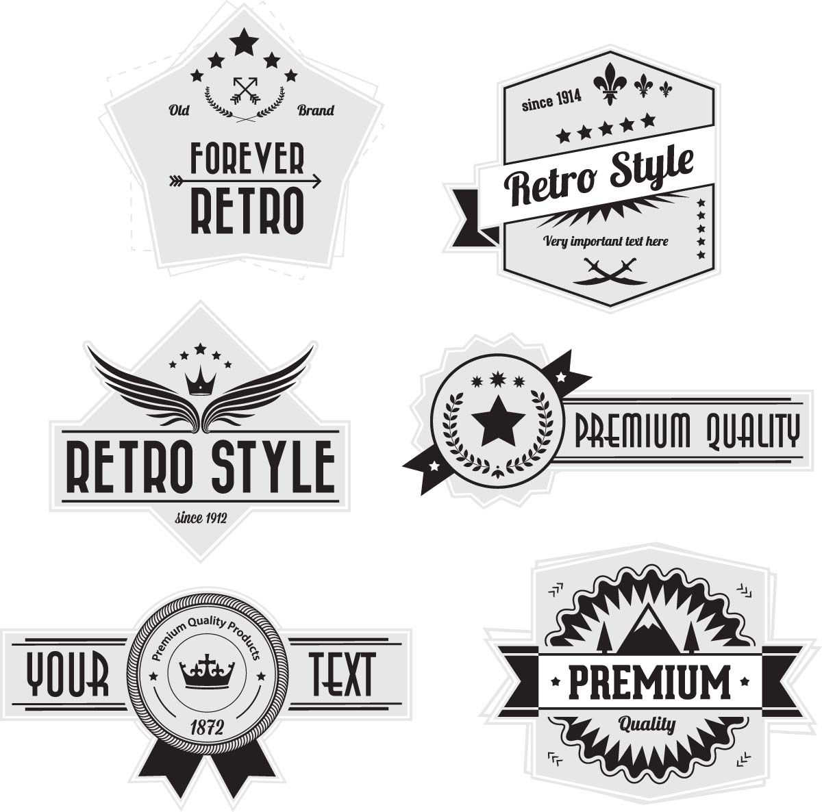 Badges And Labels Retro Style Vector