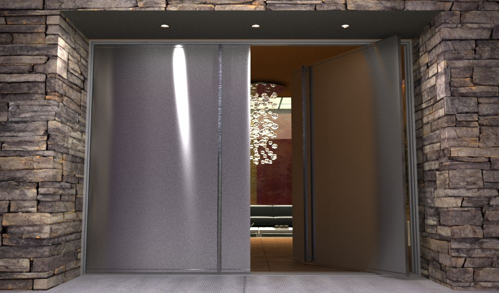 contemporary stainless steel entry doors