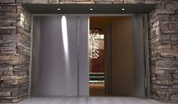 contemporary stainless steel entry doors | Pair of modern ...