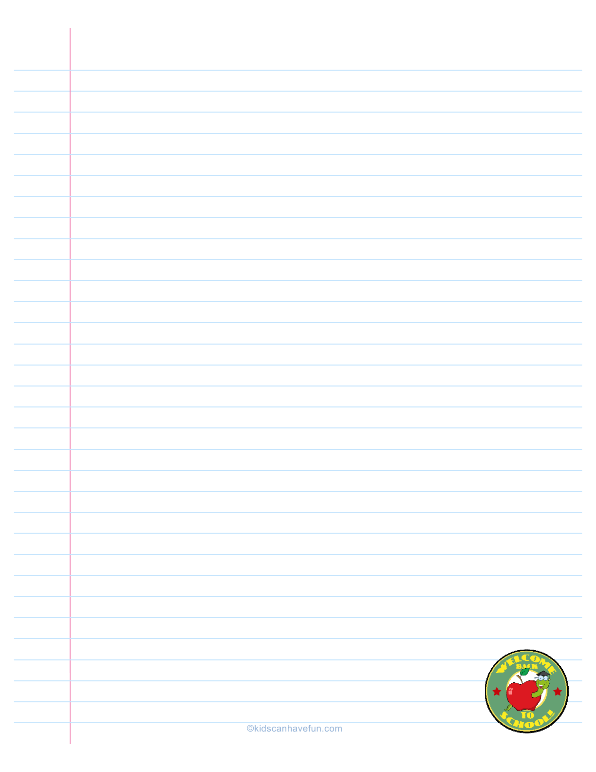 Welcome Back To School Lined Paper