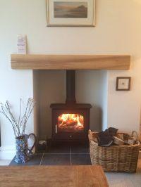 Log Burning Stove with Oak Mantle | Log burning stoves ...