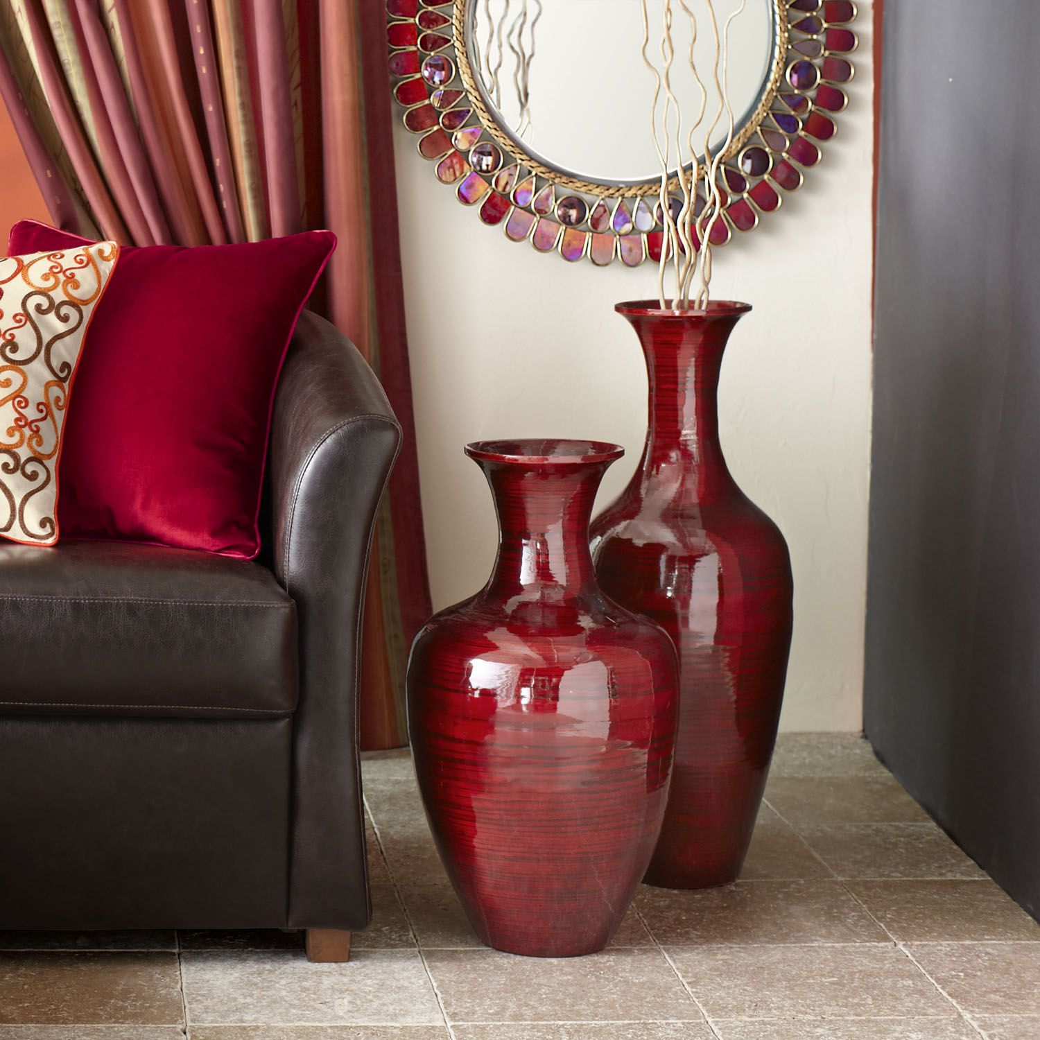 Glossy red bamboo urns vases room decorationsred decordecoration salon living also cove   urn and rooms rh pinterest