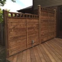 Pt deck privacy wall with electrical outlet | D.E ...
