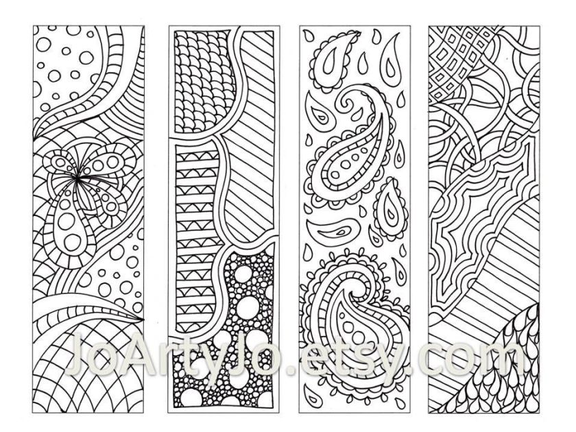 zentangle inspired bookmarks printable coloring digital