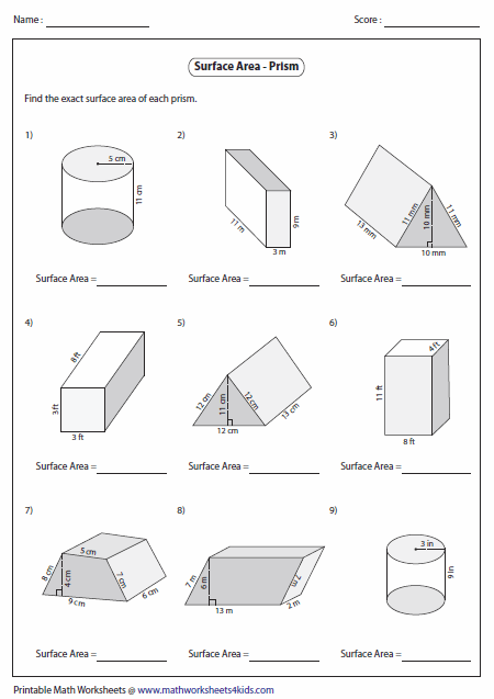 Surface Area Worksheet Surface area of prisms: level
