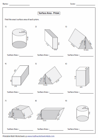 Surface Area Worksheet Surface area of prisms: level ...