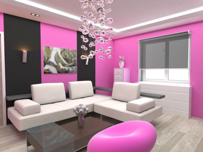 Pretty Living Room Paint Idea With Pink And Black Painted Wall White L Shaped