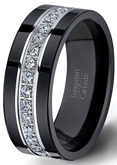 Black Tungsten Ring Fully Stacked With Brilliant Diamond Mens Wedding Band Comfort Fit  Mens