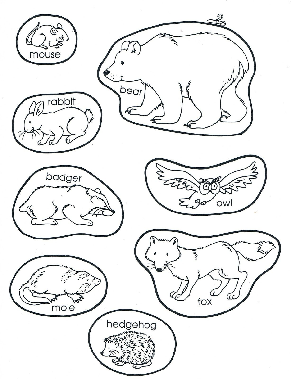 The Mitten Characters Pages Coloring Pages