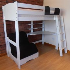 Loft Bed With Desk And Futon Chair Papasan Accessories High Sleeper Shelves Scallywag