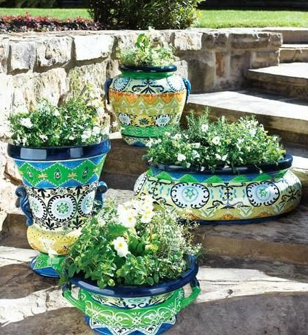 Horchow Garden Planters With A Moroccan Design Perfect For