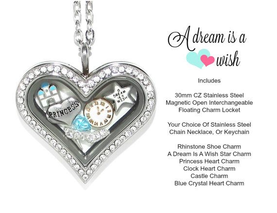 $28.99 Cinderella Floating Charm Heart Locket By Love