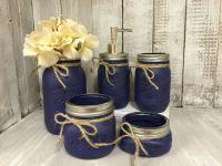 Mason Jar Bath Set - Navy Rustic Distressed Farmhouse ...