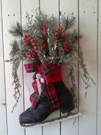 Wreath, Black Ice Skate, Holiday ice Skate, Christmas ...