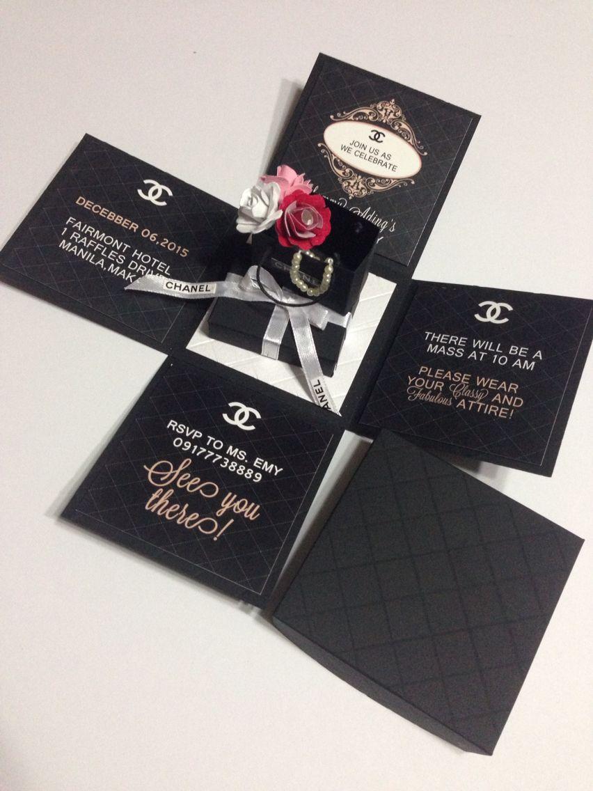 Chanel Invitation Card Handmade Cards Pinterest