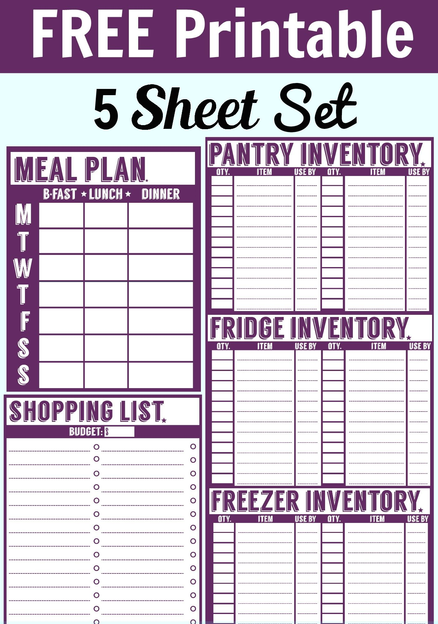 Free 5 Sheet Printable Set Includes A Menu Planner