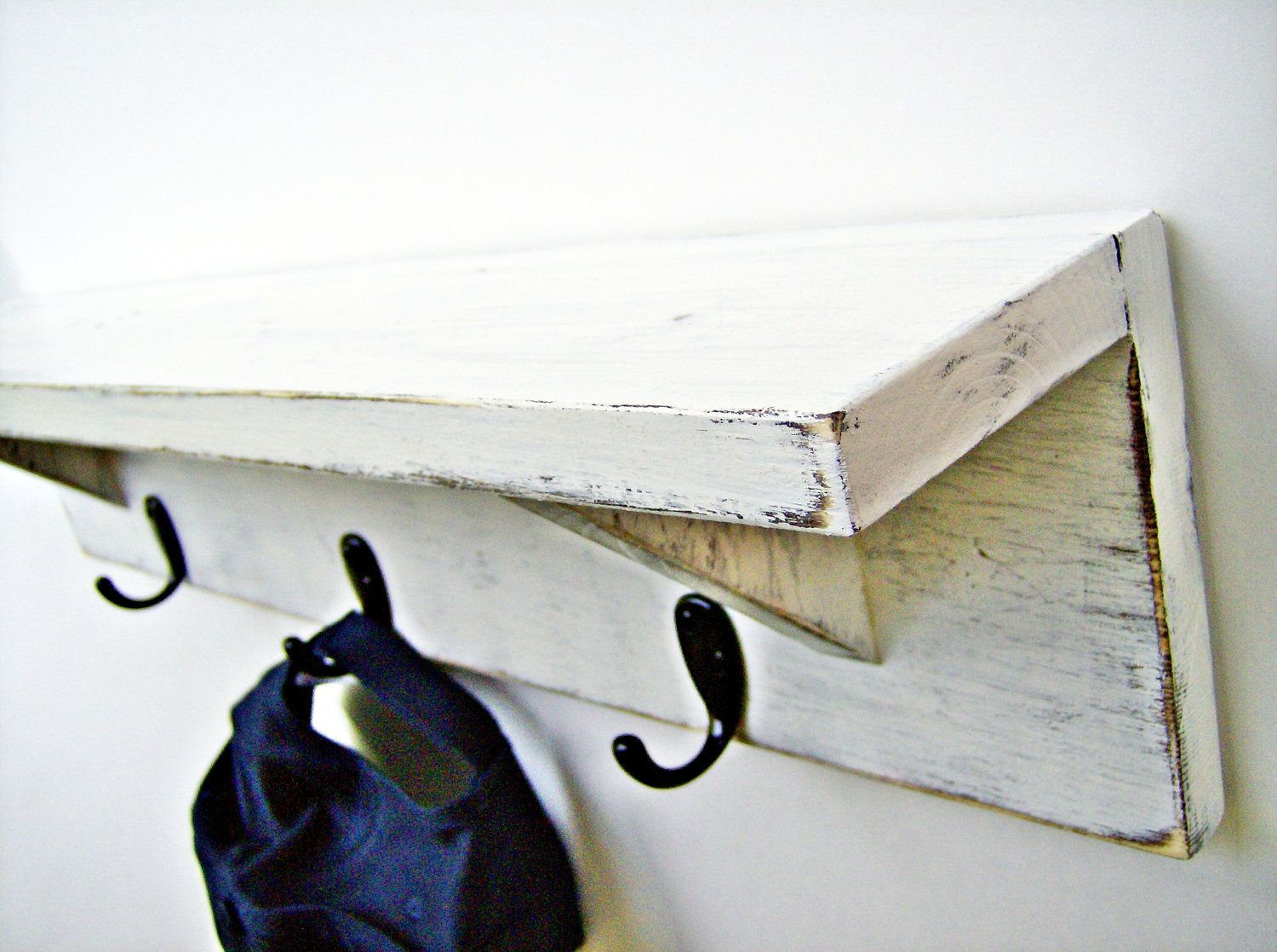 Antique White Wood Wall Shelf With Hooks 24 Inch Rustic