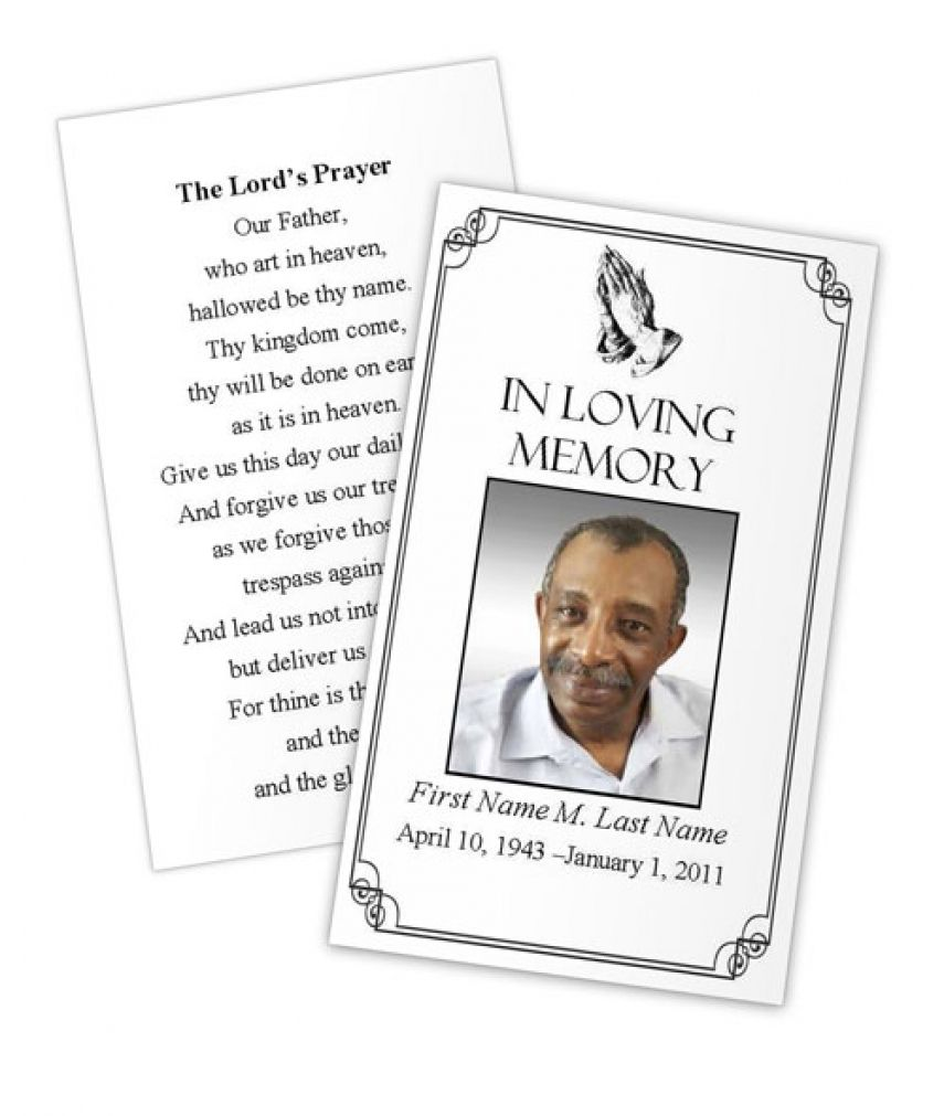 Business Card Photoshop Template Funeral Prayer Card